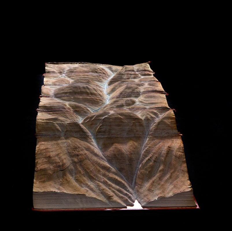 Guy Laramee Creates Hyperrealistic Topographic Landscapes Carved into Old Books - Desert of Unknowing