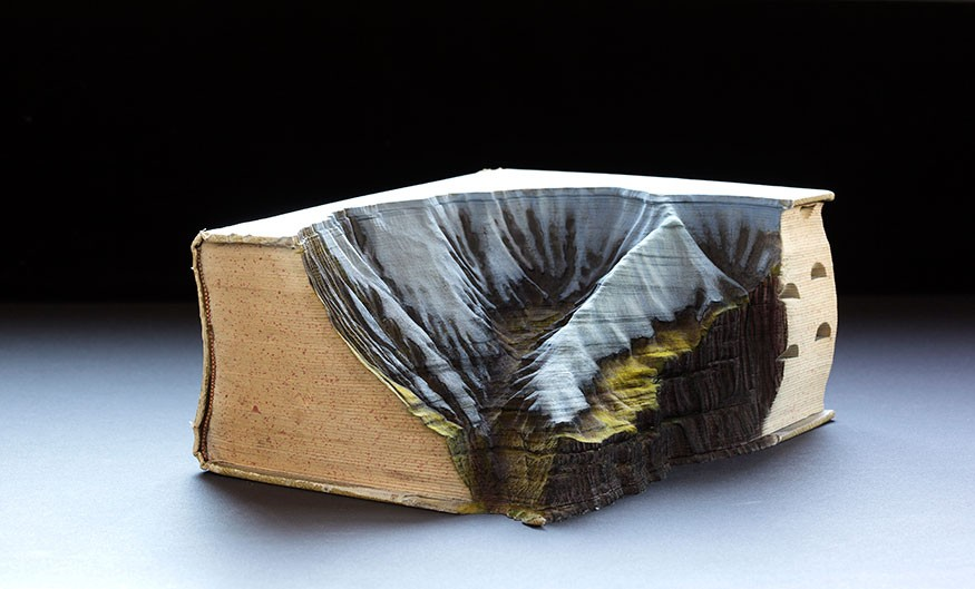 Guy Laramee Creates Hyperrealistic Topographic Landscapes Carved into Old Books - Irazu