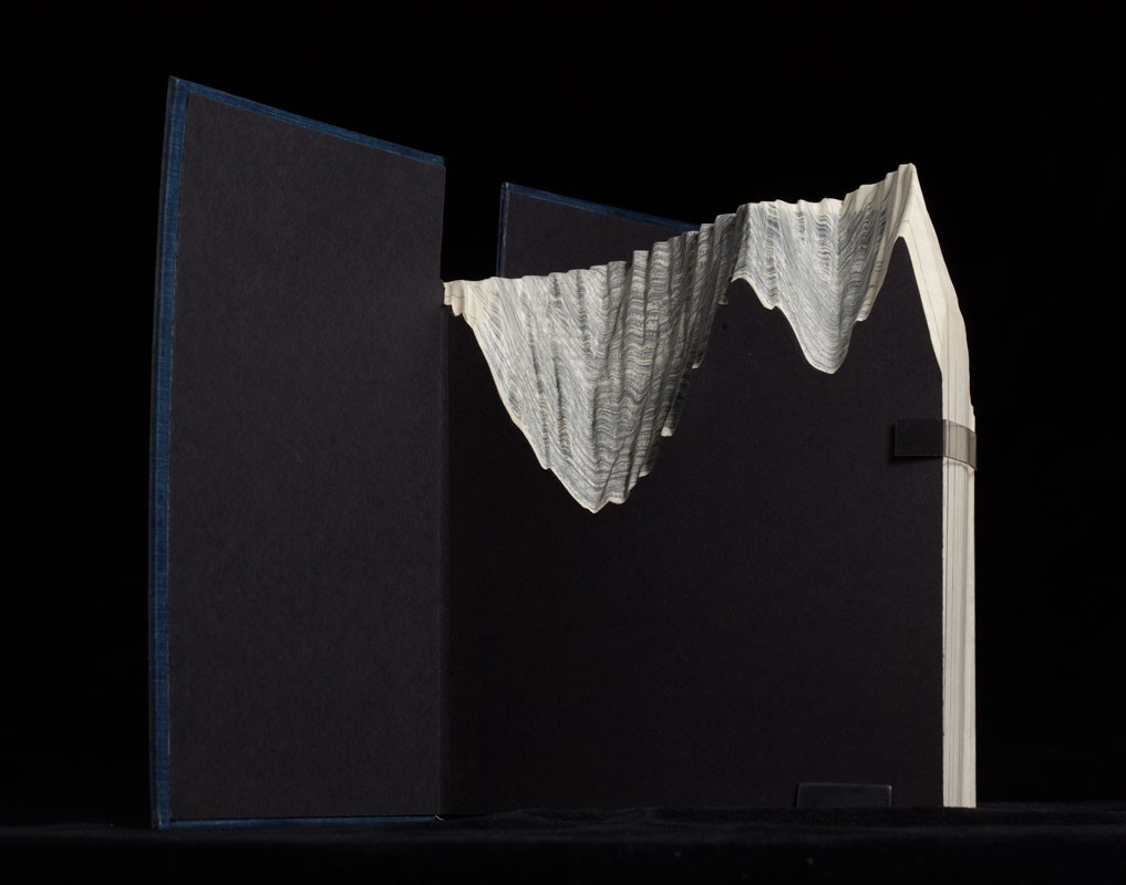 Guy Laramee Creates Hyperrealistic Topographic Landscapes Carved into Old Books - The Voices of Silence