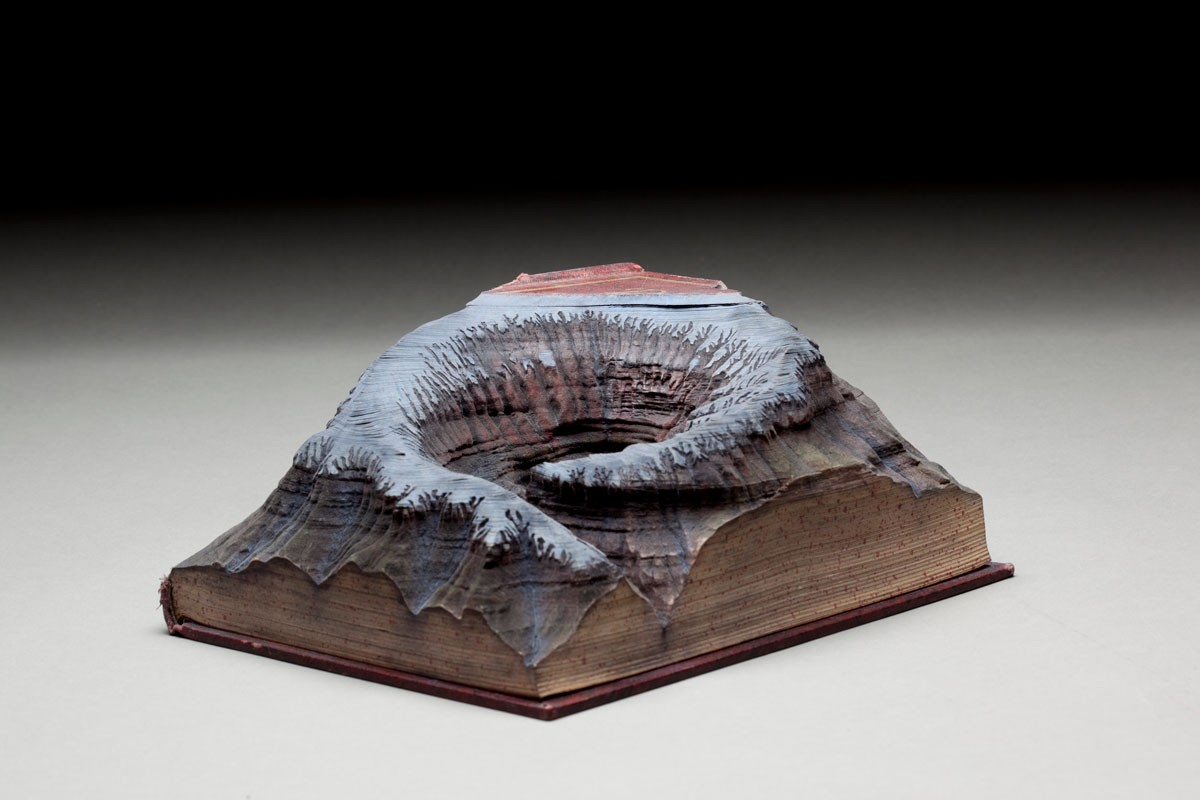 Guy Laramee Creates Hyperrealistic Topographic Landscapes Carved into Old Books - Untitled V