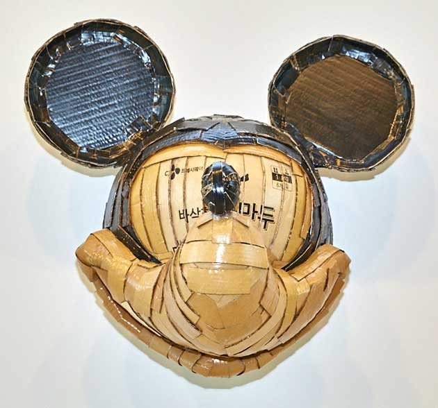 Laurence Valliéres Upcycled Cardboard Strip Animal Sculptures - Mickey Mouse