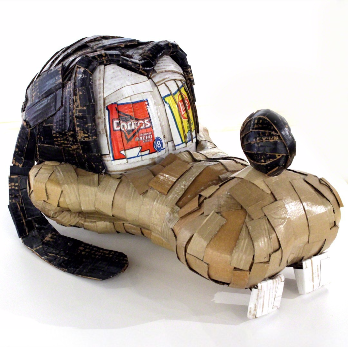 Laurence Valliéres Upcycled Cardboard Strip Animal Sculptures - Goofy