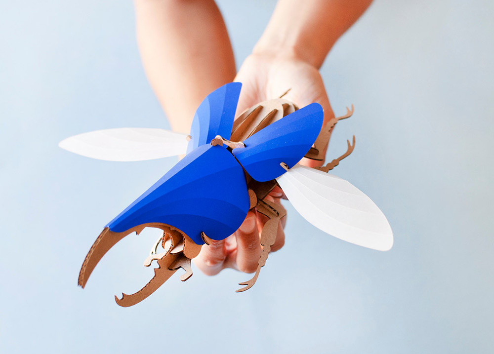 DIY Paper Beetle Sculpture Kits by Assembli - Hercules Beetle Blue