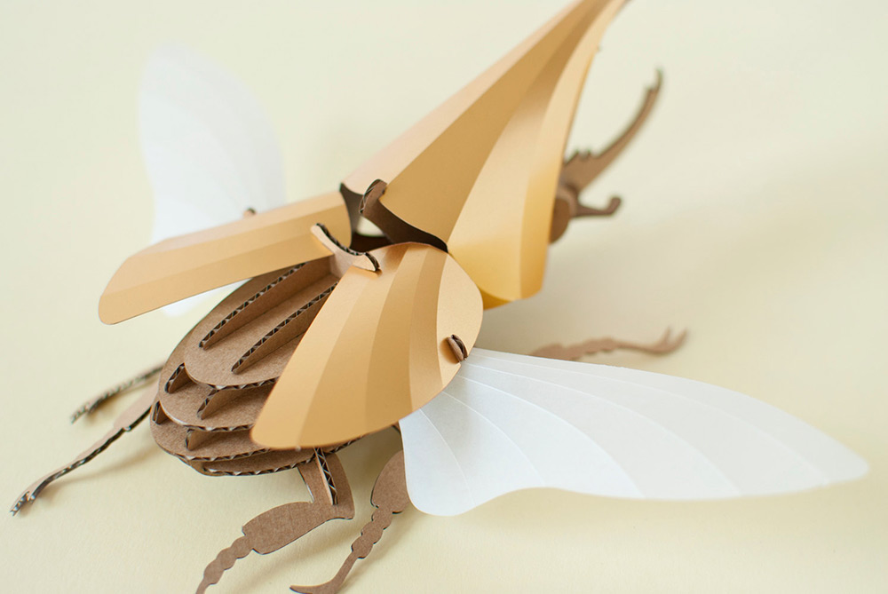 DIY Paper Beetle Sculpture Kits by Assembli - Hercules Beetle Gold