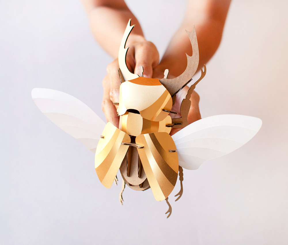 DIY Paper Beetle Sculpture Kits by Assembli - Stag Beetle Gold