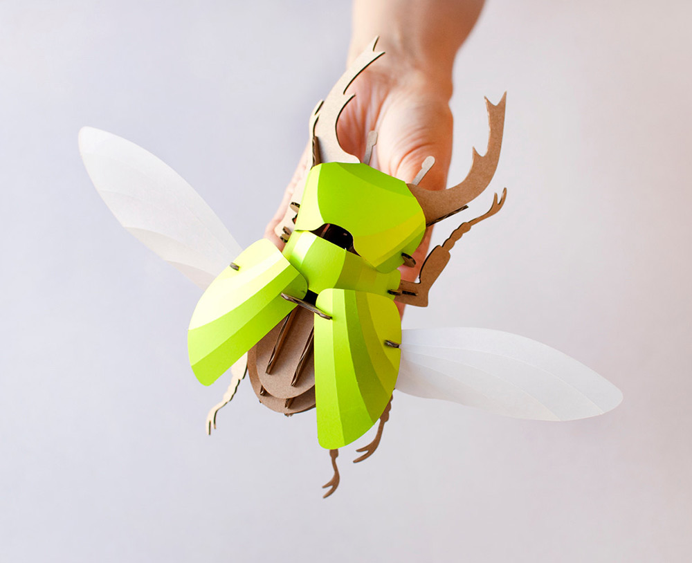 DIY Paper Beetle Sculpture Kits by Assembli - Stag Beetle Green