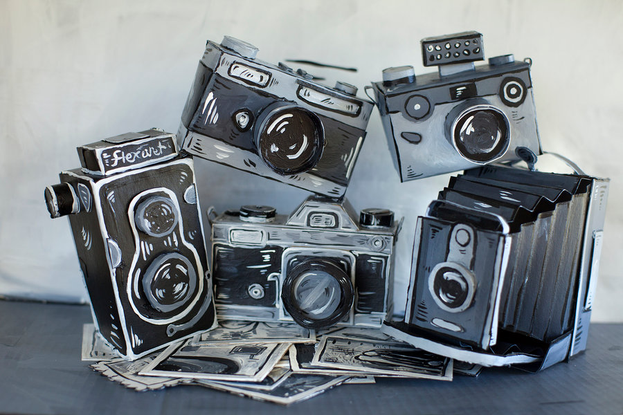 Incredible Vintage Works Fashioned in Painted Cardboard by Dosshaus - Cameras