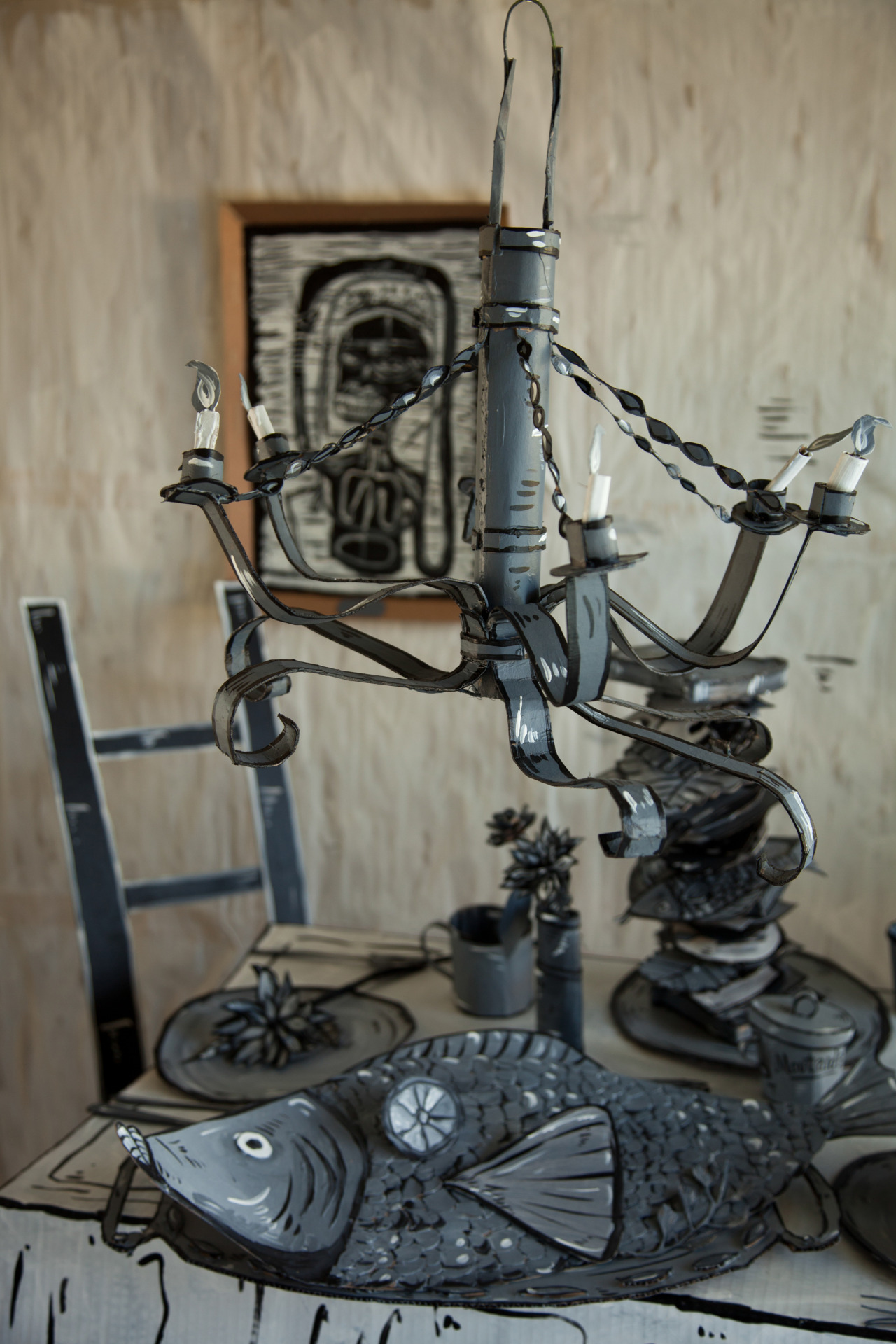 Incredible Vintage Works Fashioned in Painted Cardboard by Dosshaus - Candelabra