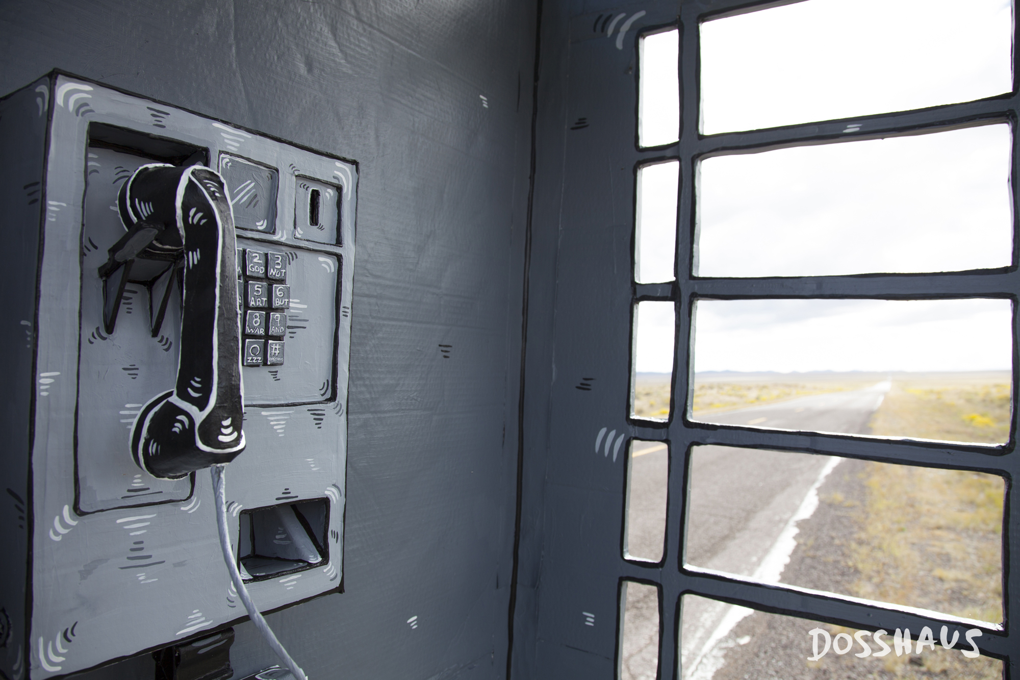 Incredible Vintage Works Fashioned in Painted Cardboard by Dosshaus - Telephone Booth