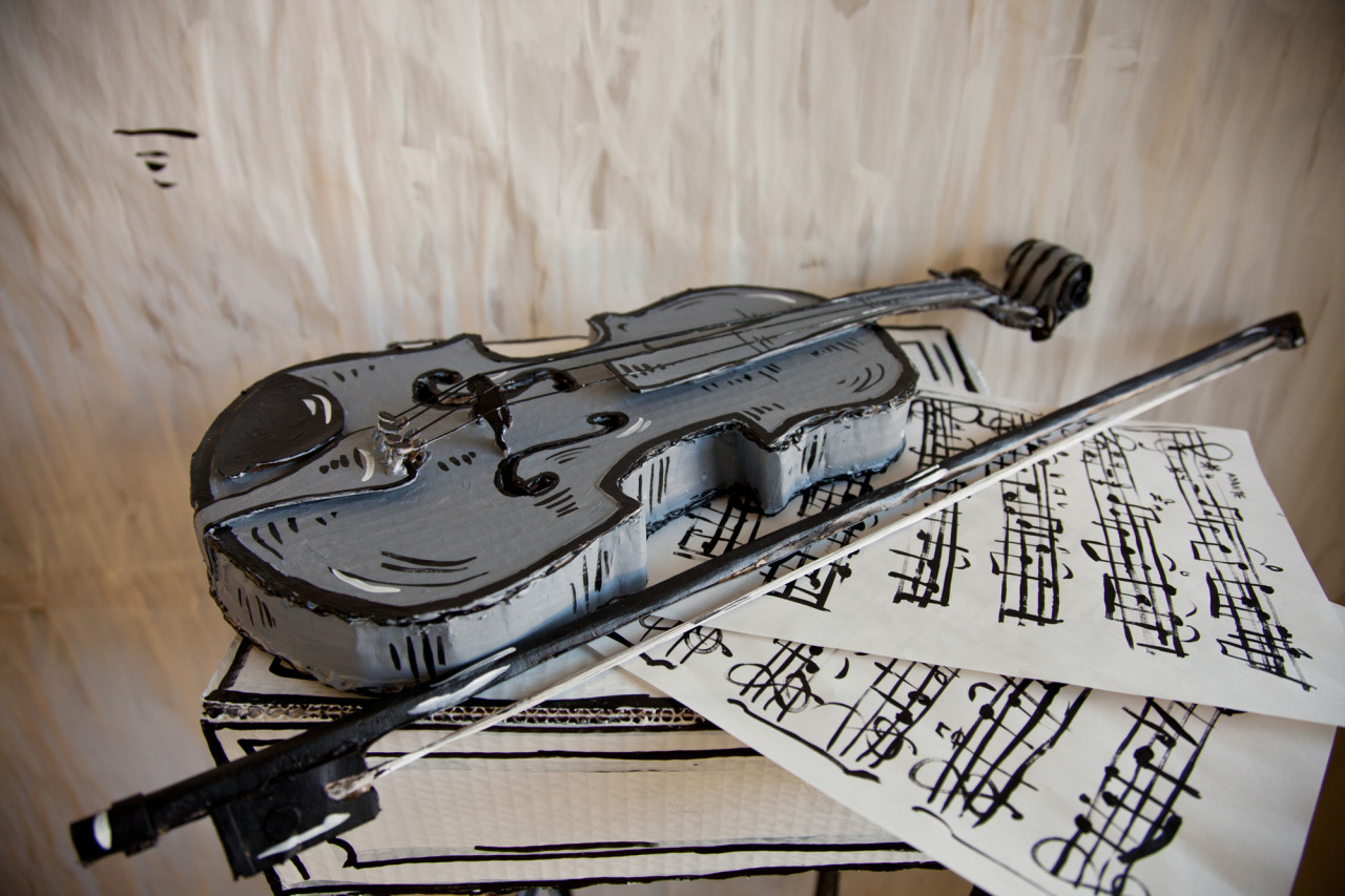 Incredible Vintage Works Fashioned in Painted Cardboard by Dosshaus - Violin