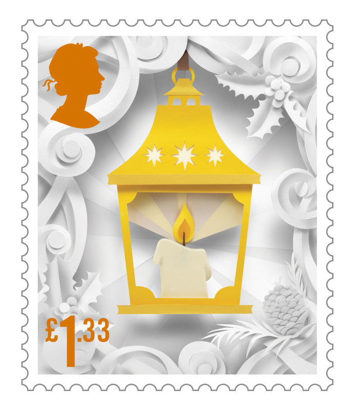 Delightful Christmas Stamp Collection Handcrafted in Paper by Helen Musselwhite - Lantern