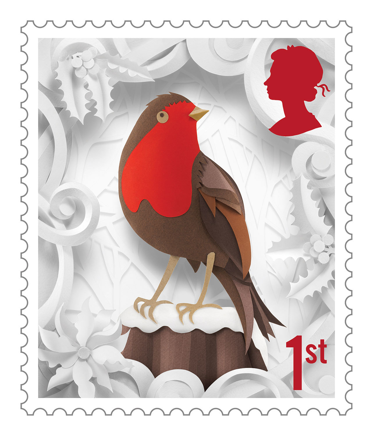 Delightful Christmas Stamp Collection Handcrafted in Paper by Helen Musselwhite - Robin