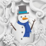 Delightful Christmas Stamp Collection Handcrafted in Paper by Helen Musselwhite - Snowman