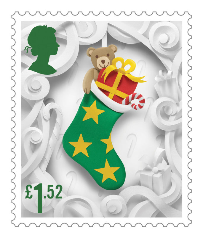 Delightful Christmas Stamp Collection Handcrafted in Paper by Helen Musselwhite - Stocking