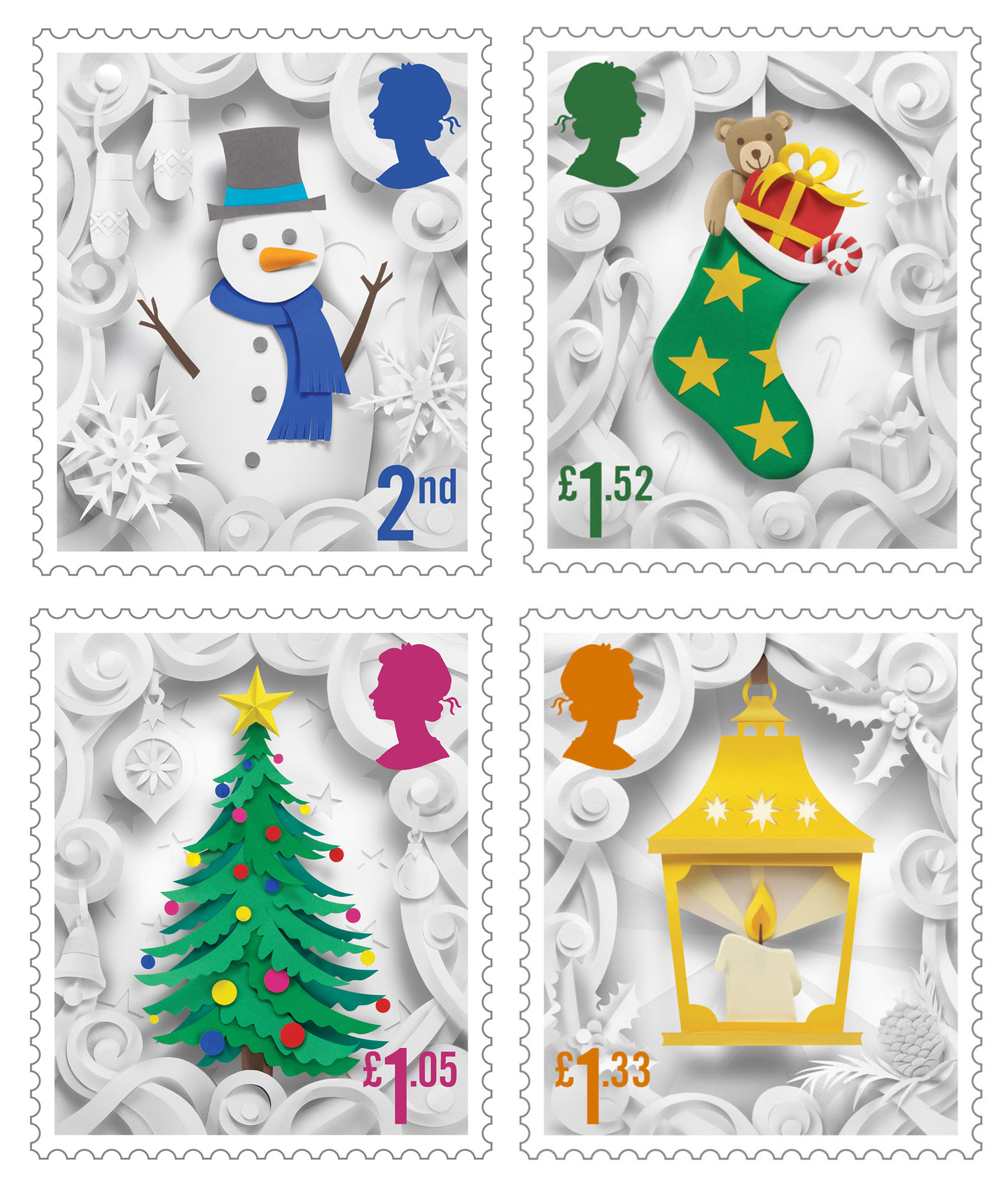 Delightful Christmas Stamp Collection Handcrafted in Paper by Helen Musselwhite