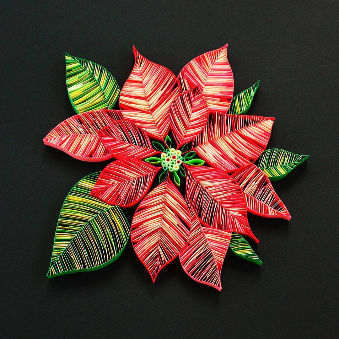 Beautiful Quilled Snowflakes and Poinsettia by Judith and Rolfe