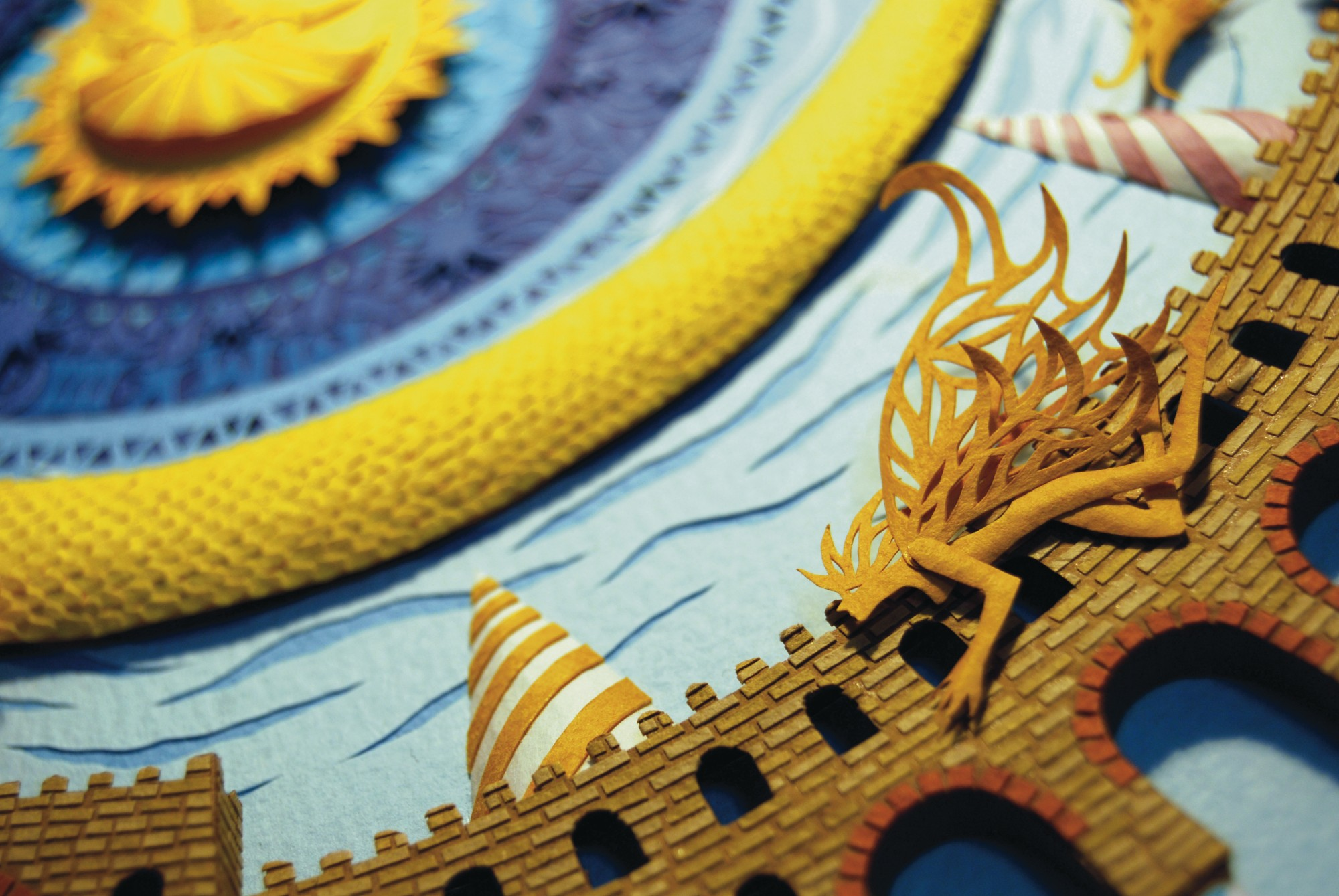Marcelo Kato Creates Colorful Mediterranean Sea Inspired Cut Paper Illustrations - Golden Dragon