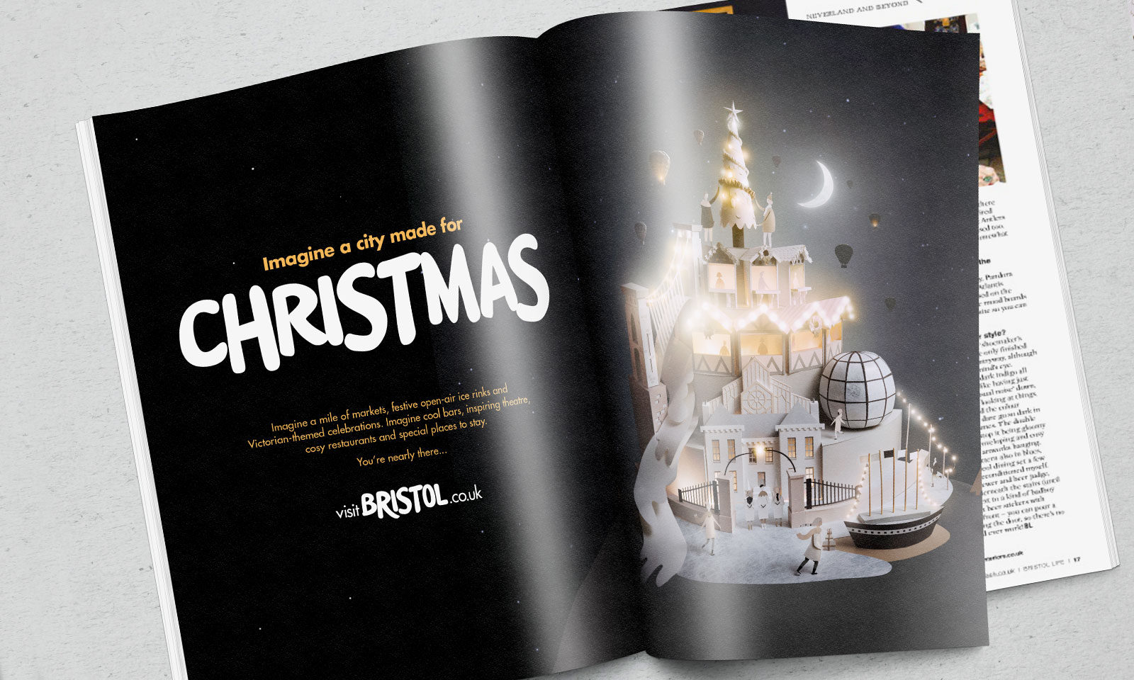 Sam Pierpoint Creates Magical Campaign Promoting Christmas in Bristol Crafted in Paper - Magazine Spread