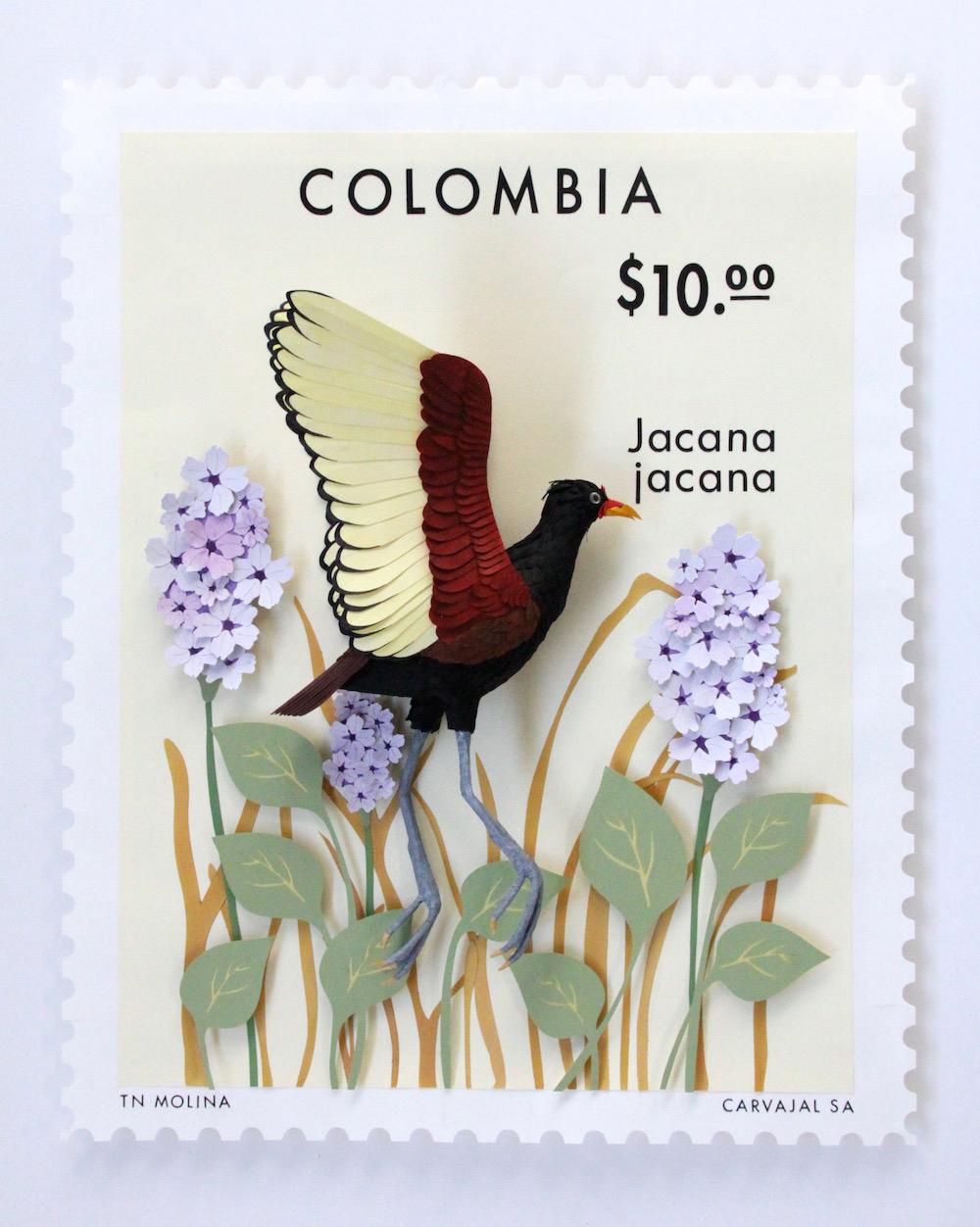 Paper Bird Sculptures Juxtaposed With International Stamps by Diana Beltran Herrera