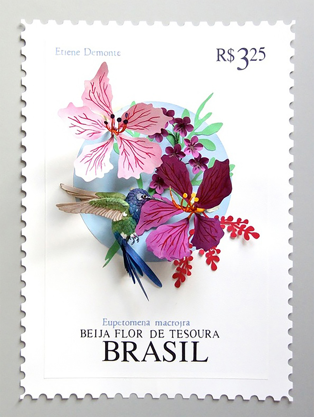 Paper Bird Sculptures Juxtaposed With International Stamps by Diana Beltran Herrera