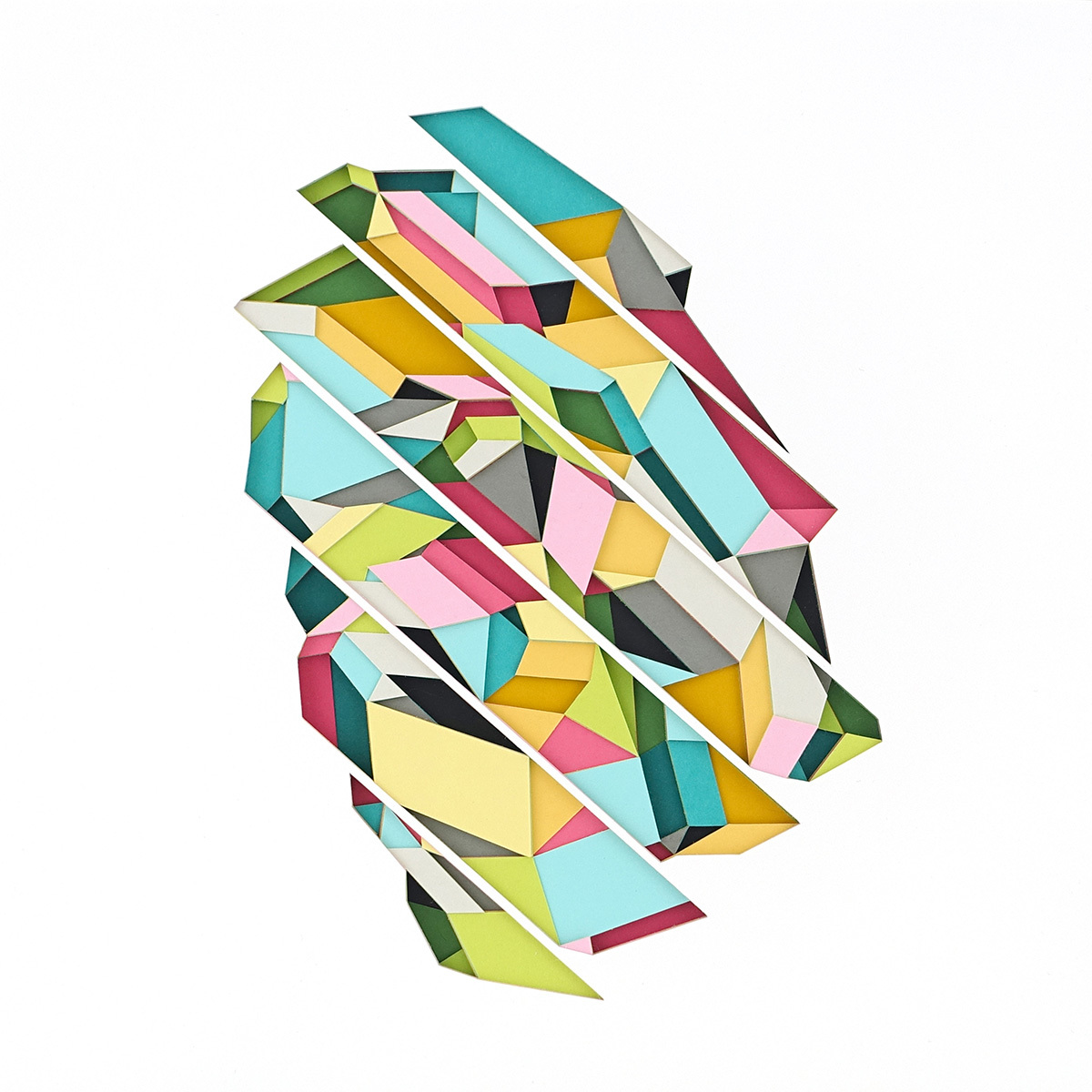 Huntz Liu Creates Geometric Paper Reliefs Reminiscent of Cut Diamonds - Downward