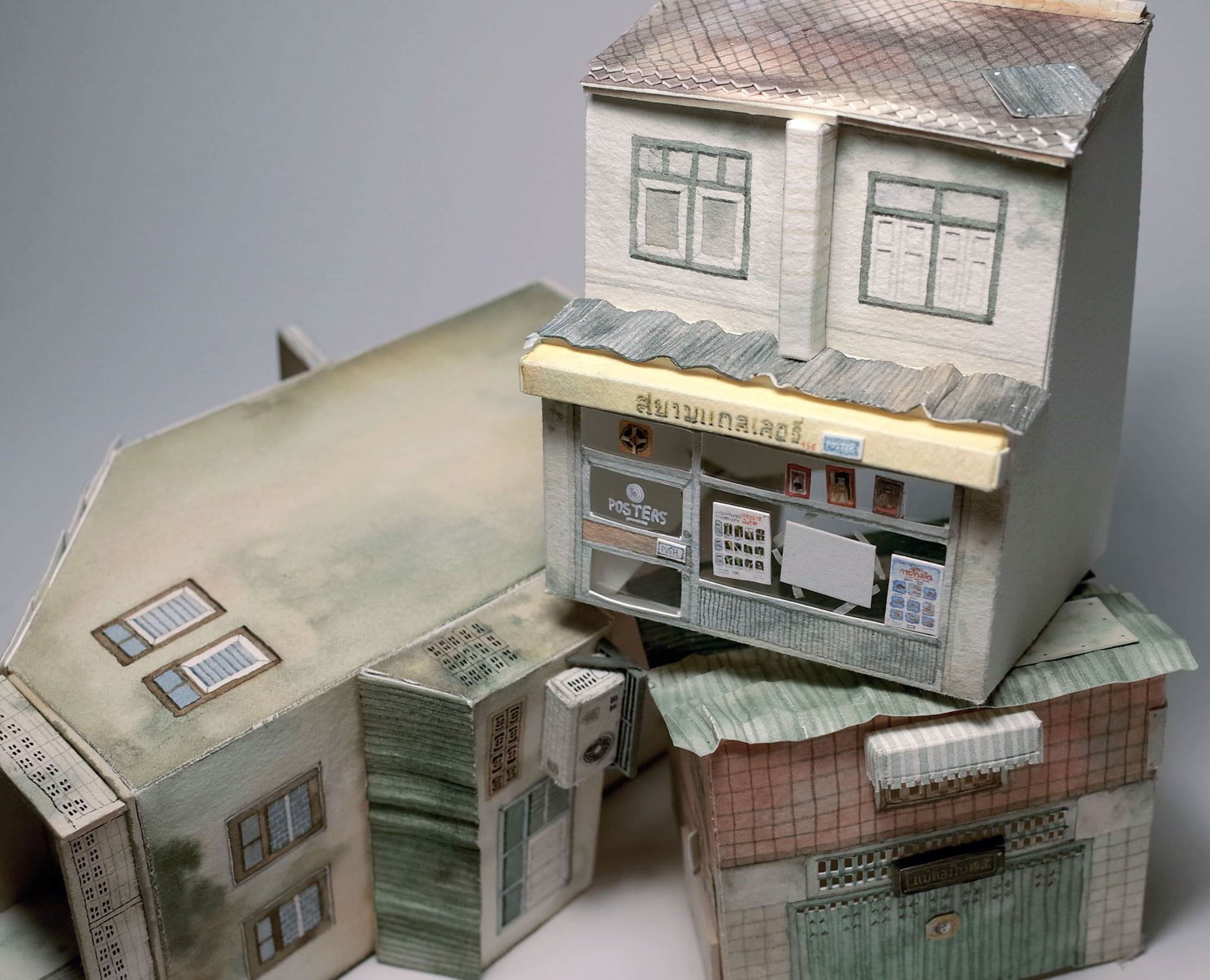 Jung Senarak Creates Miniaturized Watercolor Sculptures of Bangkok Out of Paper