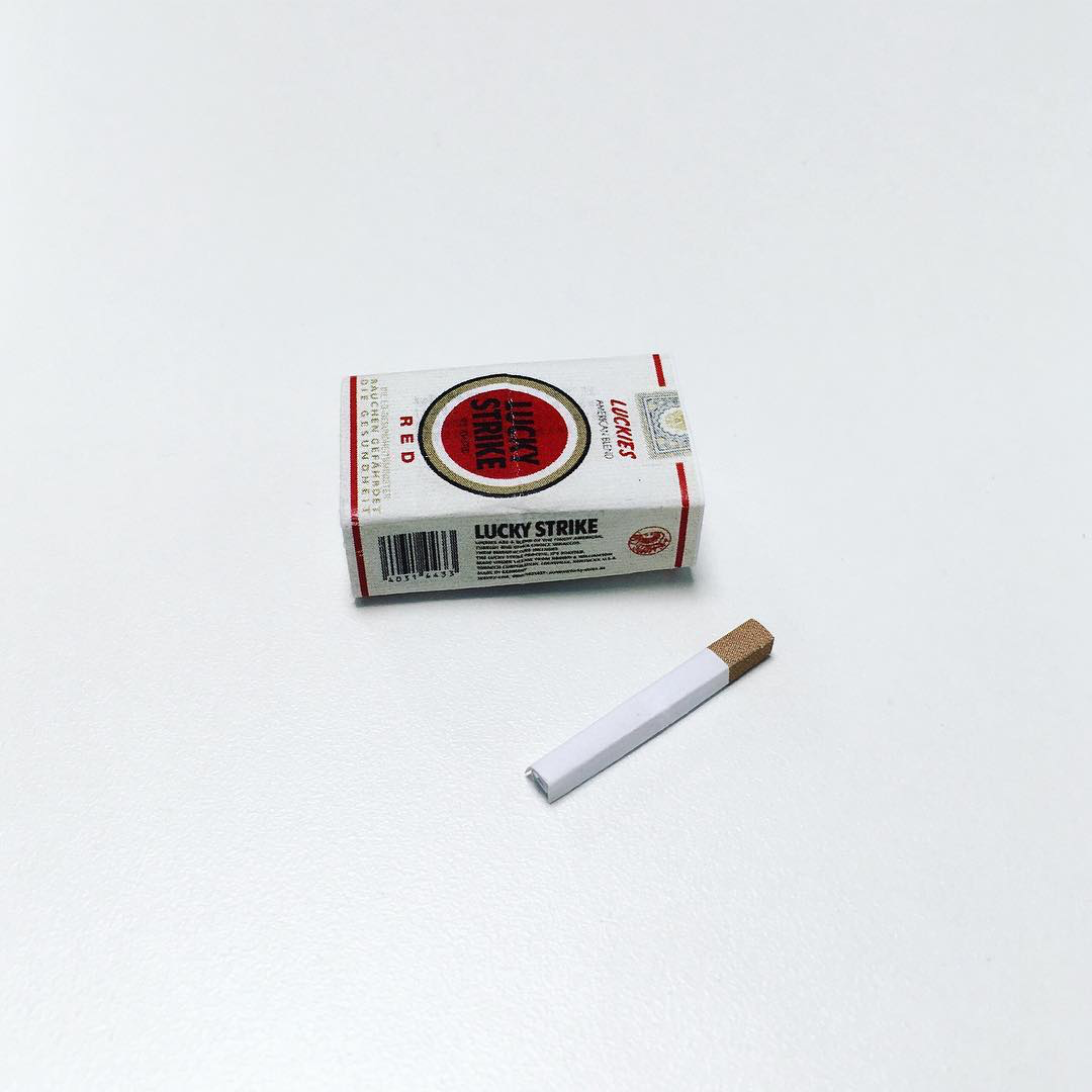 Artist Creates Well-Known Products as Minimal Origami Miniatures - Lucky Strike Cigarettes