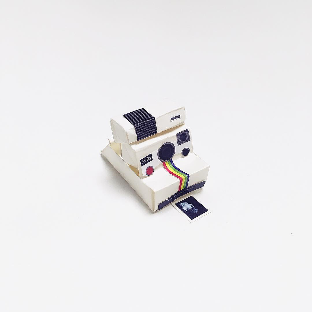 Artist Creates Well-Known Products as Minimal Origami Miniatures - Polaroid Camera