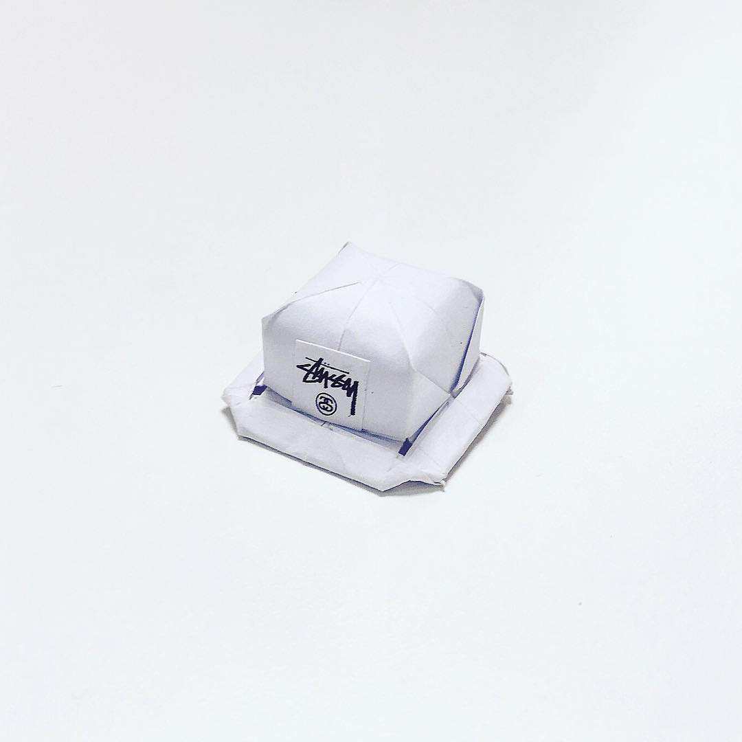 Artist Creates Well-Known Products as Minimal Origami Miniatures - Stussy Hat