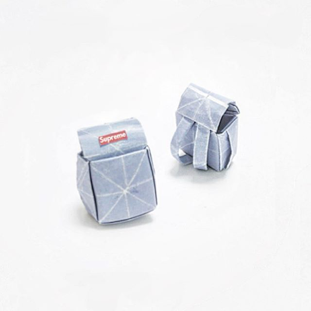 Artist Creates Well-Known Products as Minimal Origami Miniatures - Supreme Backpack