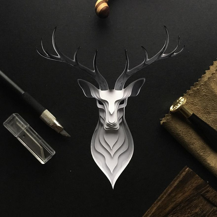 Patrick Cabral Explores The Animal Form Through Delicate Layered Papercuts - Deer