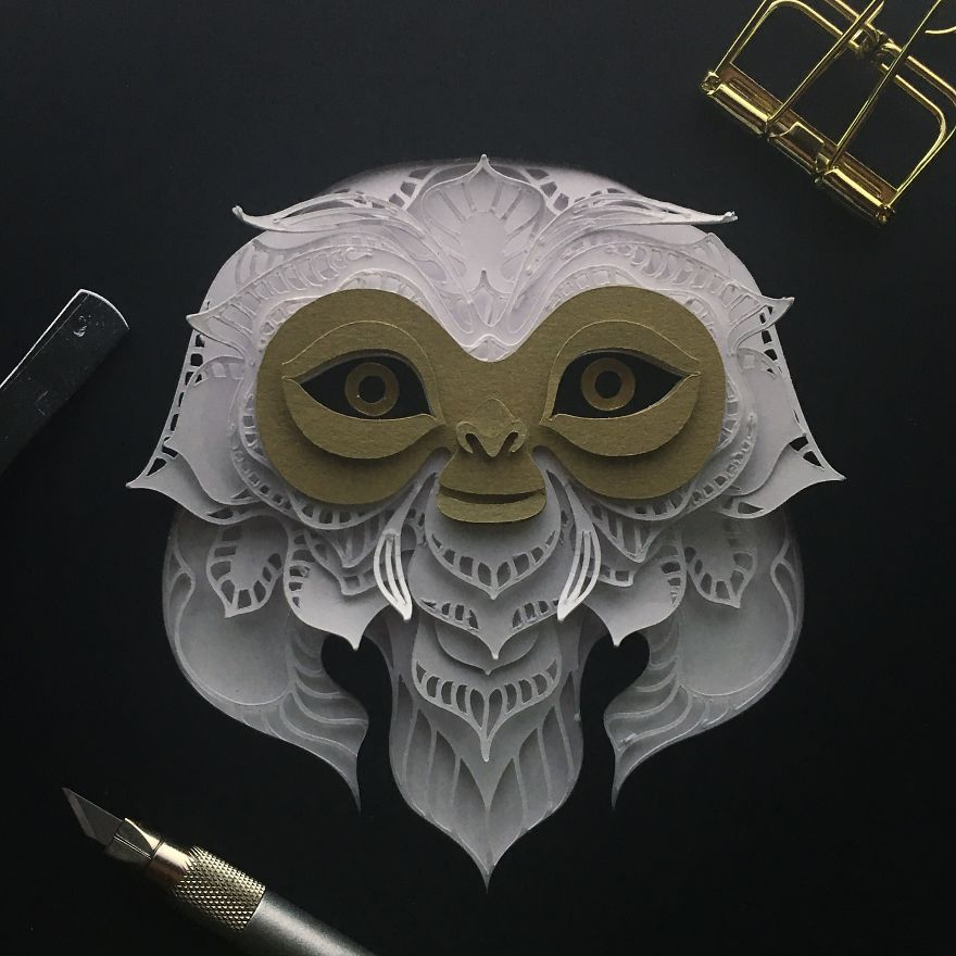 Patrick Cabral Explores The Animal Form Through Delicate Layered Papercuts - Monkey