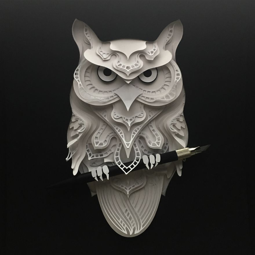 Patrick Cabral Explores The Animal Form Through Delicate Layered Papercuts - Owl