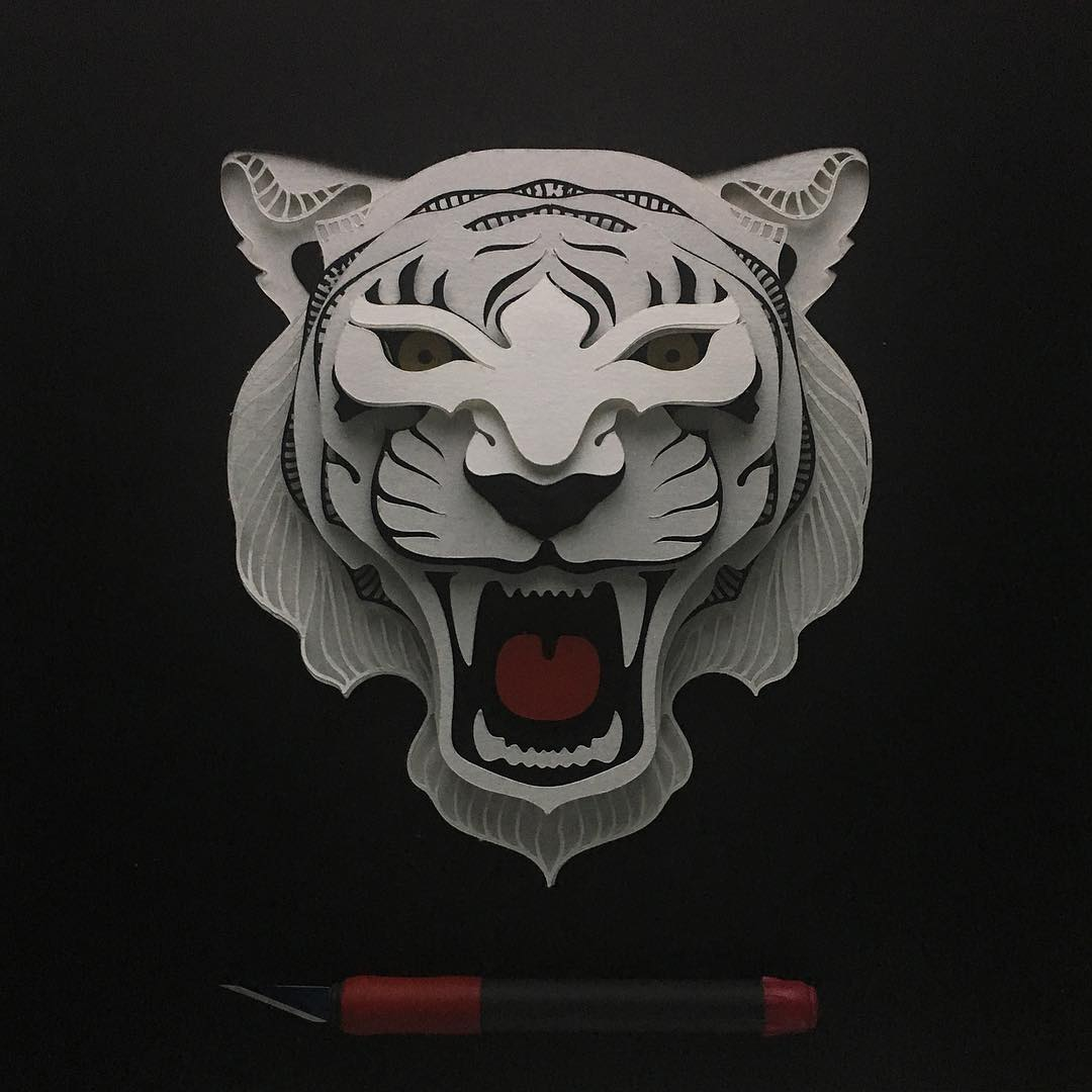 Patrick Cabral Explores The Animal Form Through Delicate Layered Papercuts - Tiger