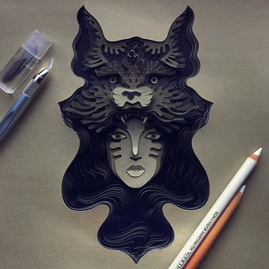 Patrick Cabral Explores The Animal Form Through Delicate Layered Papercuts - Wolf Girl
