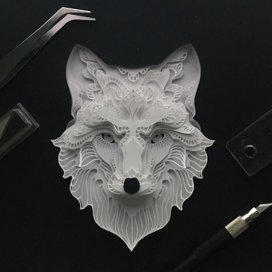 Patrick Cabral Explores The Animal Form Through Delicate Layered Papercuts - Wolf