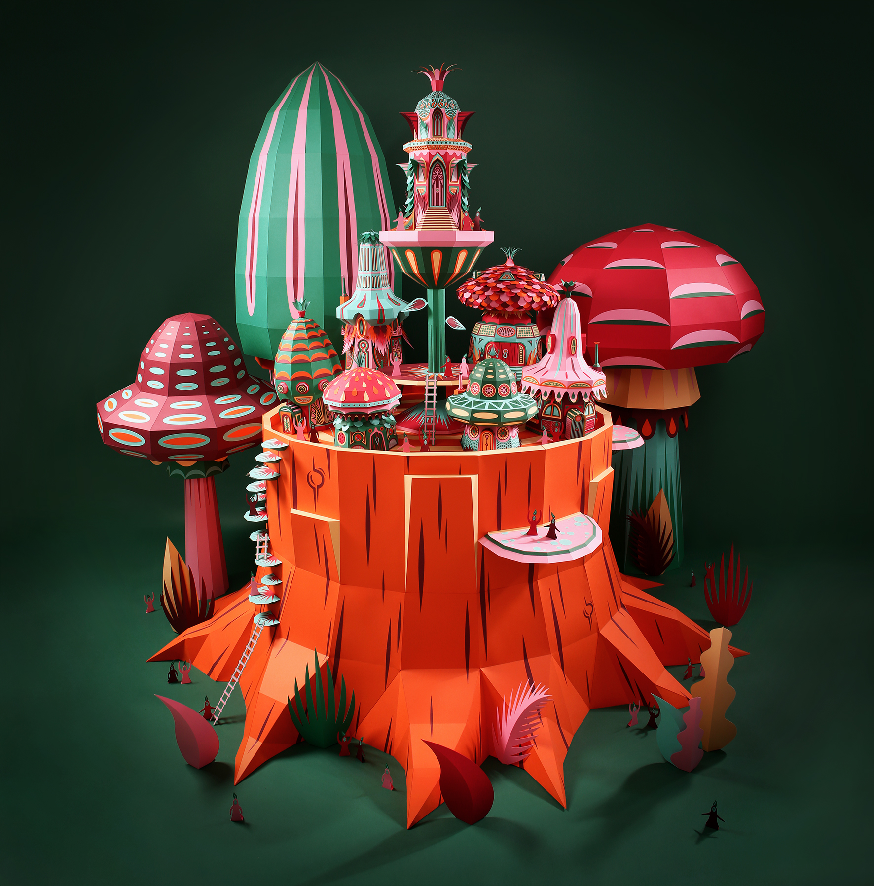 Fantastic Miniature Worlds of Nature Bursting with Color for Hermès Window Display in Dubai - Mushroom Full