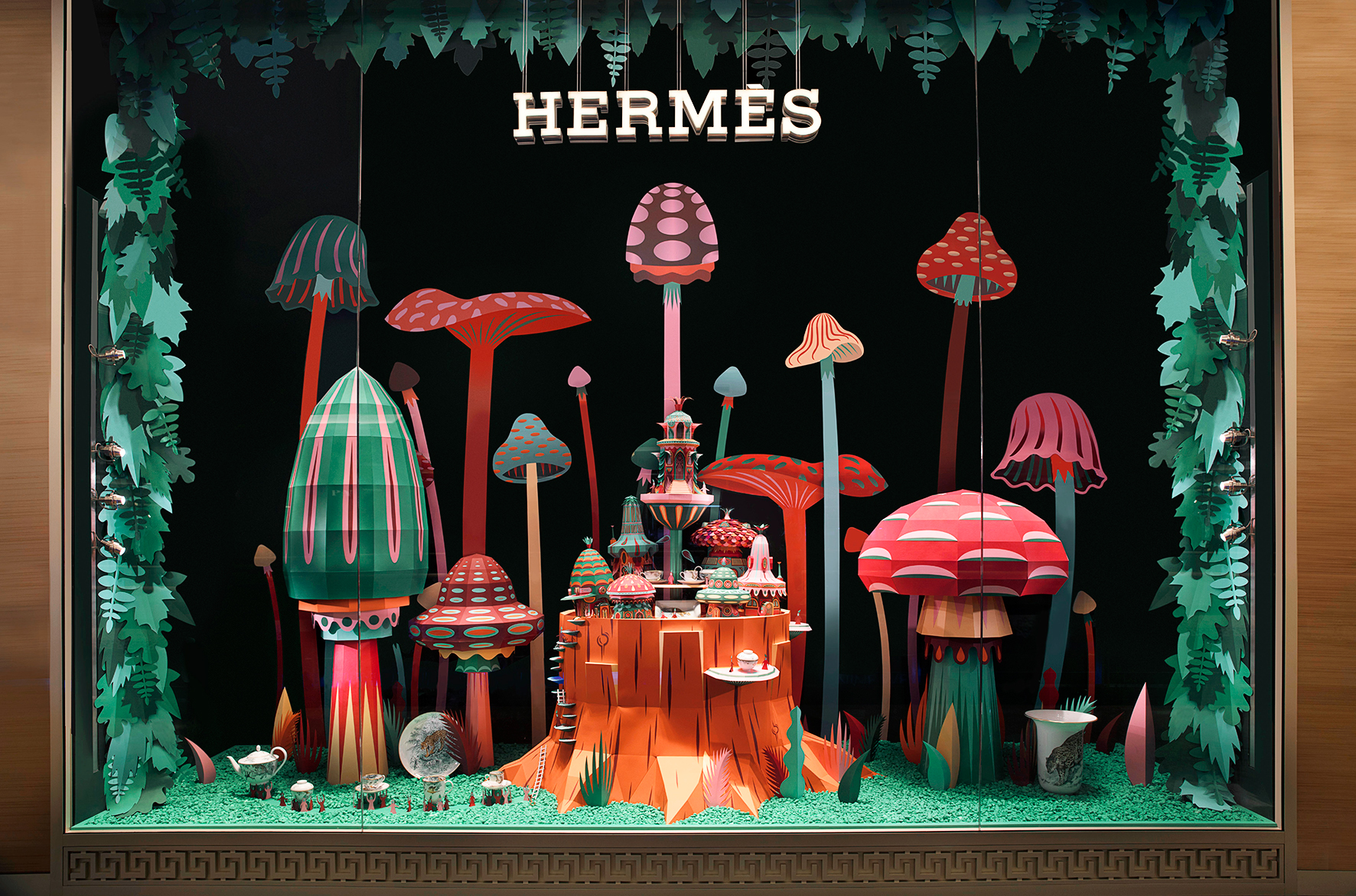 Fantastic Miniature Worlds of Nature Bursting with Color for Hermès Window Display in Dubai