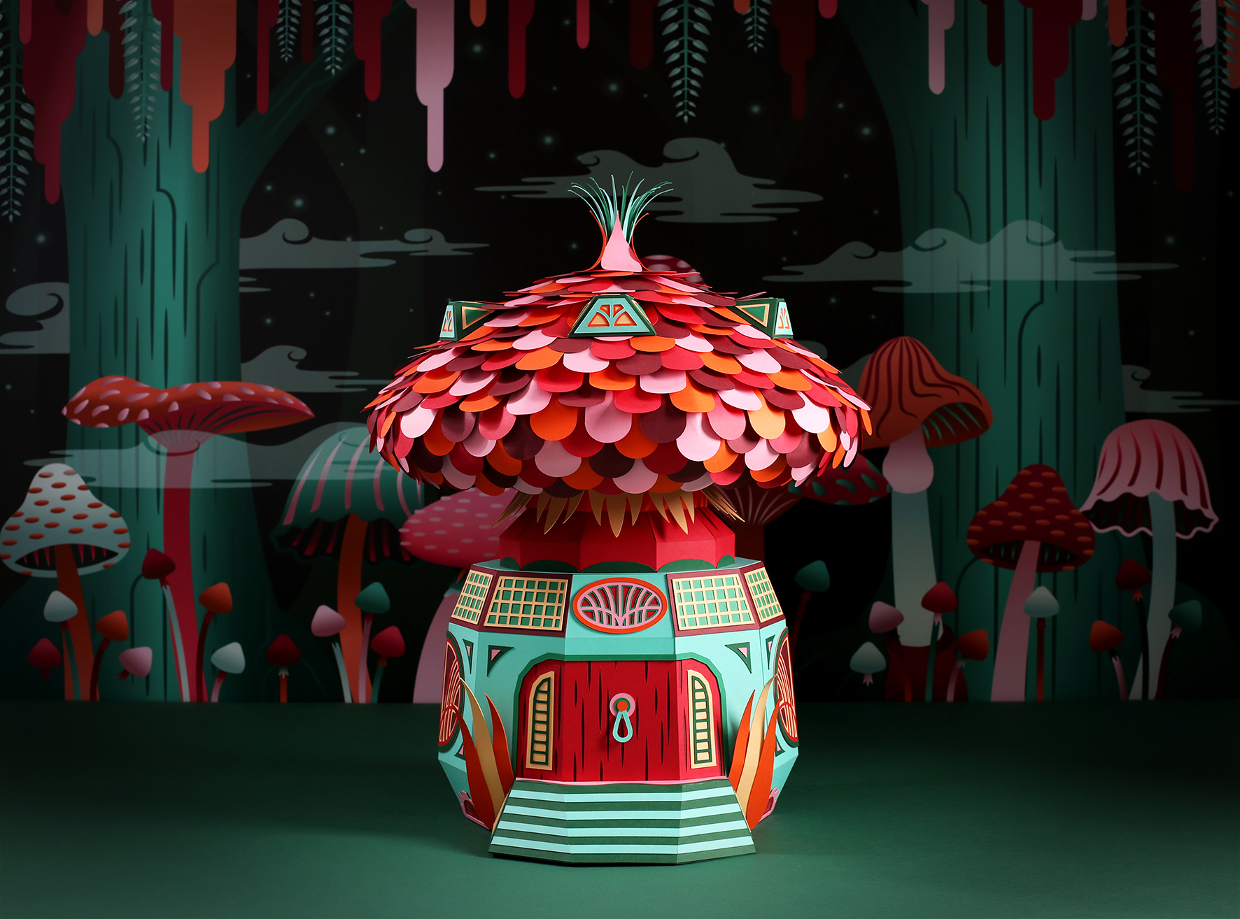 Fantastic Miniature Worlds of Nature Bursting with Color for Hermès Window Display in Dubai - Mushroom