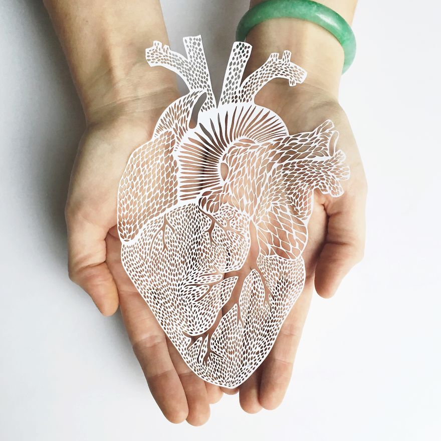 Intricately Detailed Hand-Cut Anatomical Organs Out Of Paper by Ali Harrison - Heart Hand
