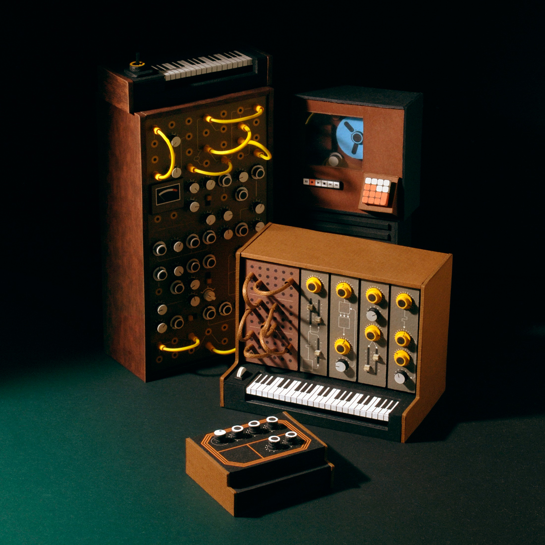 Miniature Analogue Papercraft Synthesizers by Dan McPharlin