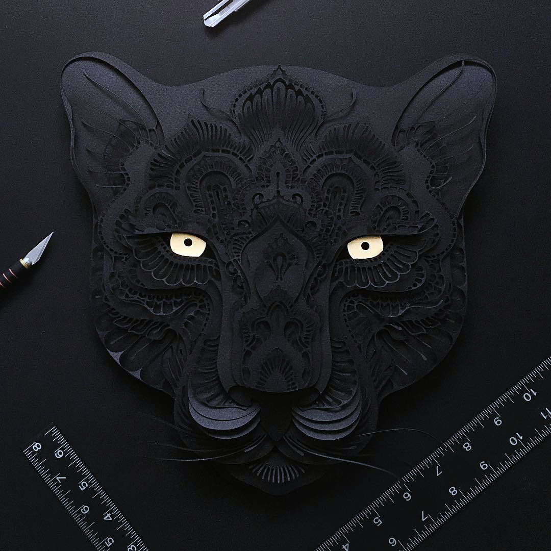 Patrick Cabral Endangered Species Series In Cut Paper - Black Panther