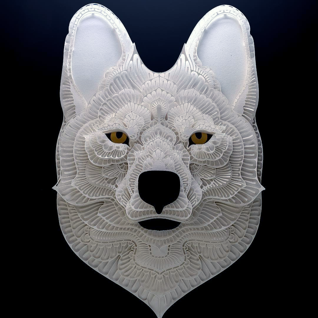Patrick Cabral Endangered Species Series In Cut Paper - Dholes