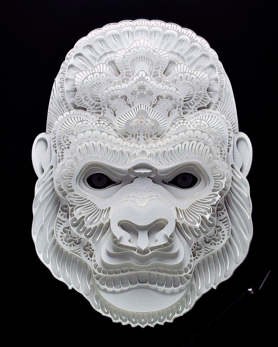 Patrick Cabral Endangered Species Series In Cut Paper - Gorilla