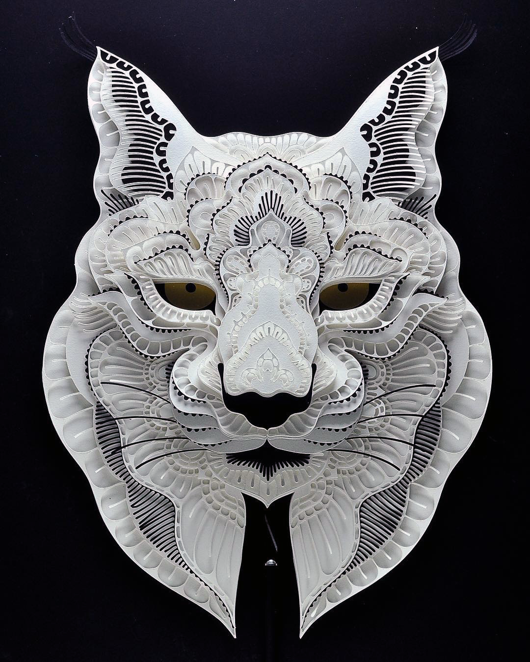 Patrick Cabral Endangered Species Series In Cut Paper - Lynx