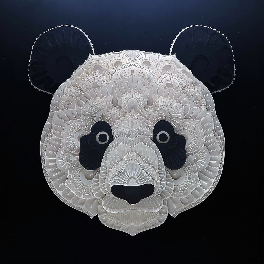 Patrick Cabral Endangered Species Series In Cut Paper - Panda