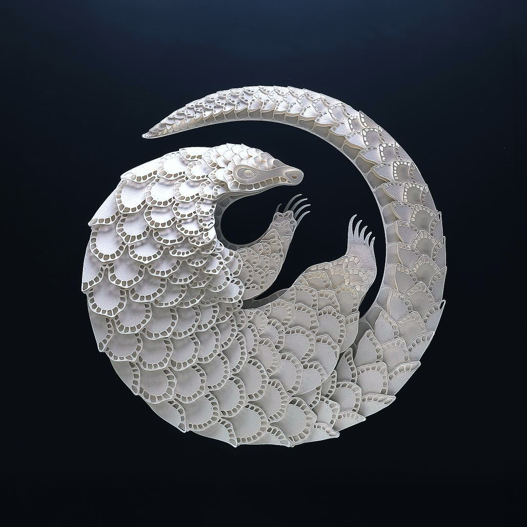 Patrick Cabral Endangered Species Series In Cut Paper - Pangolin