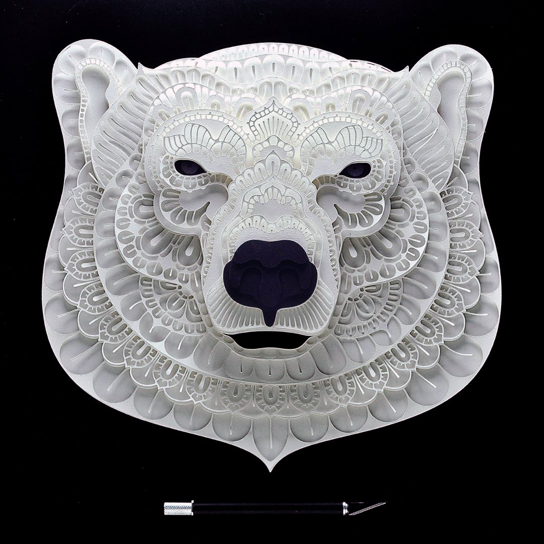Patrick Cabral Endangered Species Series In Cut Paper - Polar Bear