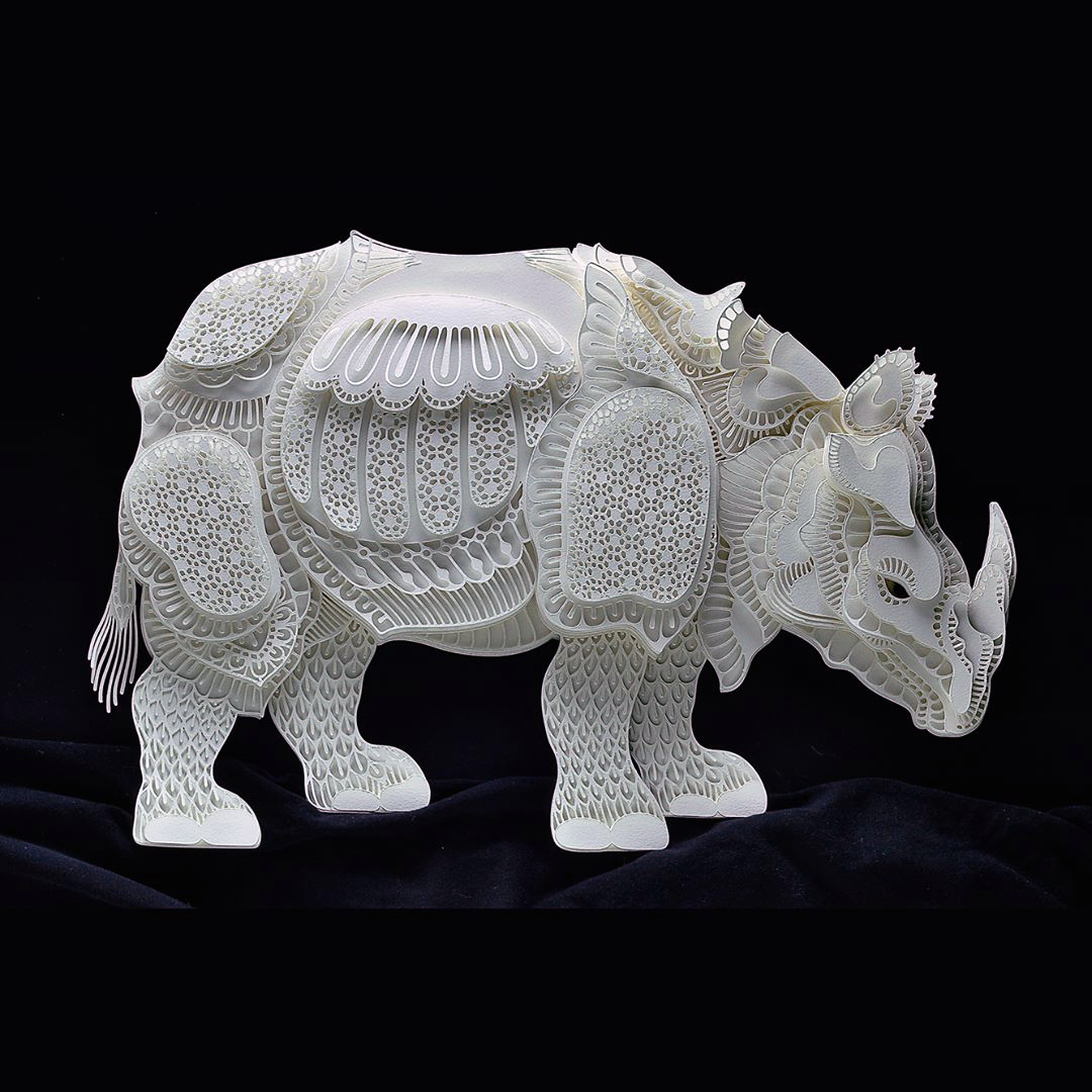 Patrick Cabral Endangered Species Series In Cut Paper - Rhino