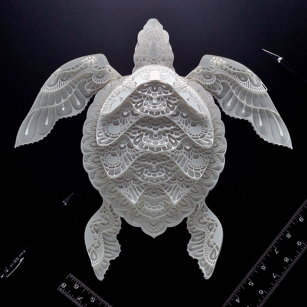 Patrick Cabral Endangered Species Series In Cut Paper - Sea Turtle